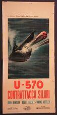 Locandina U570 CONTRATTACCO SILURI 1959 RARA!! JOHN BENTLEY, BRETT HALSEY GUERRA