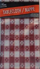 "New Red White Checked Gingham Plastic Tablecloth 54"" X 90"" Camping Picnic BBQ"
