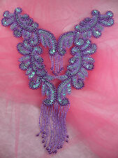 0510 Lavender AB Bodice Yoke Sequin Beaded Applique Patch10""