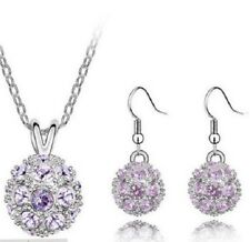 Silver Plated Purple Crystal Samballa Disco Ball Necklace & Earrings Set