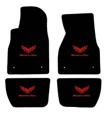 NEW! BLACK FLOOR MATS 1993-2002 FIREBIRD Trans Am Embroidered Logo in RED on all