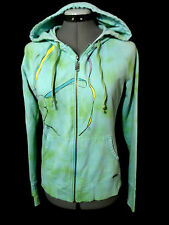 ROXY Hoodie Sweatshirt women S BlueGreen Dyed zip up Graphic Designer Skate Surf