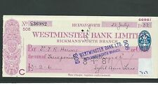 wbc. - CHEQUE - CH919 - USED -1930's - WESTMINSTER BANK, RICKMANSWORTH