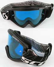 SCOTT RECOIL XI MOTOCROSS MX GOGGLES BLACK with GOGGLE-SHOP BLUE TINTED LENS