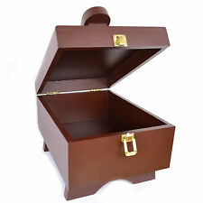 Dark Wood Shoe Box - Shoe Care Box, Wood Box For Shoe Care Polishes & Creams