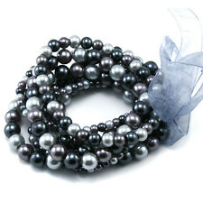 7 Strands Silver and Dark Grey Pearl Stretch Bracelet Set