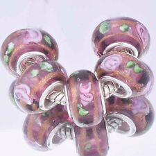 5Pcs GF Silver Grape Crystal Silver MURANO GLASS lampwork european beads