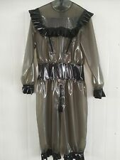 Latex Rubber Gummi Bodysuit Lace Gray smoke and Black Catsuit Suit Size XS-XXL