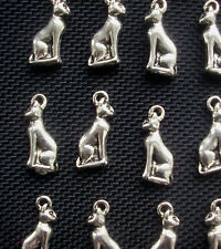 6 Cat Bastet Charms Egyptian Bas Cat Charms Silver Tone Metal 20mm