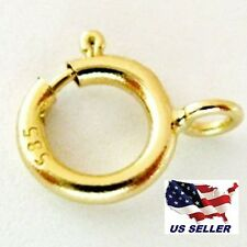 New 14K Yellow Gold Spring Ring Clasp w/ open ring attachment 5.5mm