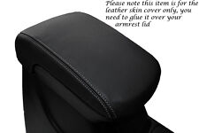 GREY STITCH FITS MITSUBISHI L200 2010+ BLACK LEATHER ARMREST COVER ONLY