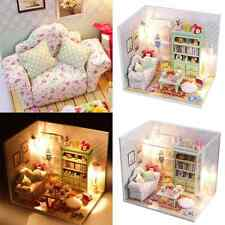 Kits DIY Wood Dollhouse Sofa Miniature With LED+Furniture+cover Magic Doll house