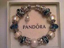 Authentic Pandora Sterling Silver Bracelet with (Murano Beads) 7.9 inches