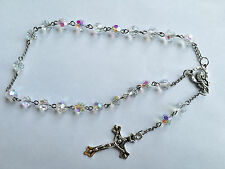 1pcs AB 8MM Glass Bead Rosary Crucifix Catholic 2-Decade Chaplet Bracelet Gift