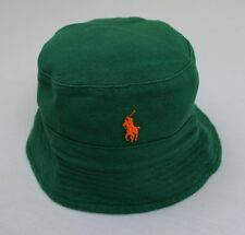 POLO RALPH LAUREN Men's Dark Green Cotton Bucket Hat w/Orange Pony (S/M) NWT $50