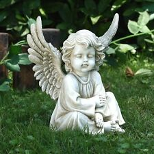 Sitting Angel Cherub Garden Statue Lawn Memorial Decor