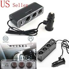DC 12V/24V 3 Port Car Charger Socket Splitter Cigarette Lighter Adapter USB Plug