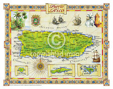 "19.5 x 25"" Puerto Rico Vintage Look Map Printed on Frenchtone Parchment Paper"