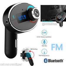 Car Speakerphone Bluetooth FM Transmitters Handsfree TF MP3 Player USB Charger