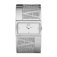 **NEW** LADIES ARMANI EXCHANGE AX SILVER CRYSTAL BANGLE WATCH - AX4021 -RRP £169