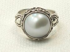 Estate Vintage Sterling Silver BA Bali Suarti Indonesia Gray Mabe Pearl Ring