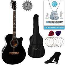 Stretton Payne grand auditorium Electro guitare acoustique blackl + accessoires