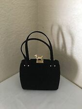 Barry Kieselstein Cord Black Canvas Small Satchel Satin Handles Handbag