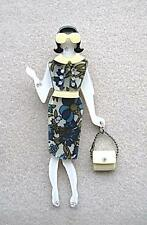 Fab Multi Colour Floral Lucite & Crystal Lady With Handbag Brooch