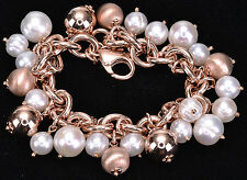 "Honora Culture FW Pearl charm and Bronze charm Bracelet 8""Long"