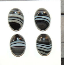 Black and White Agate 10x14mm with 5mm dome Cabochons Set of 4 (10538)