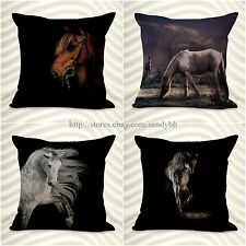 set of 4 cushion covers equine horse equestrian decorator throw pillow cover