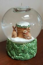 Hallmark Marjolein Bastin Water Globe Tealight Candle Holder Winter Rabbits