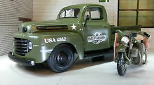 G LGB 1:24 Scale Maisto Korea War Army 1948 Ford F1 & Harley Davison Model Truck