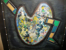 gouache on paper abstract painter pallet sign PhilipTsiaras `88 Greek /American