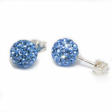 Genuine Sterling Silver 5mm Shamballa Crystal Ball Stud Earrings -Light Sapphire