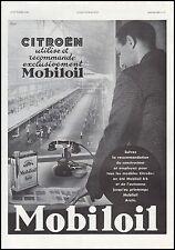 Publicité Mobiloil  Automobile Chaine de montage Usine Citroen car  ad  1935