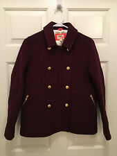 NWT J. Crew Crewcuts Girl's Stadium Cloth Deep Purple Peacoat Size 14