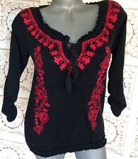 INC Black Red Peasant Top Blouse Size M Medium Scoop Neck BOHO Sexy