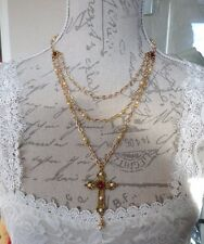 OOAK Medieval Cream Pearl Ruby Red MULTI-STRAND CROSS Tudor Necklace Wedding