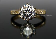 2.14 CTW Engagement Ring Solitaire Round cut Yellow 14K gold women's anniversary