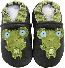 carozoo soft sole leather baby shoes frog black 12-18m