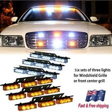 54 White Amber LED Emergency Warning Car Truck Strobe Lights Bar Deck Dash Grill