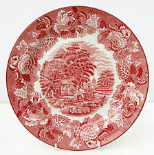 Vintage Woods Ware English Scenery Red White Dinner Plate