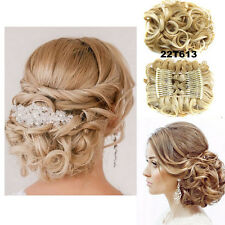 Women Flower Curly Bun Clip In Ponytail Comb Chignon Hair Extension Hairpiece