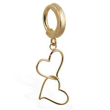 TummyToys 14K Yellow Gold Floating Double Hearts Belly Ring