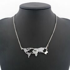 SILVER PLATED 'MAP OF THE WORLD' NECKLACE GIFT XMAS  *UK SELLER*  NSP14