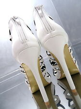 2017 1cm Plateau Hoher Absatz Stiefel Weiß Sandalen Pumps Schuhe N52 High Heels