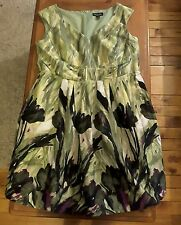 NWT Perceptions women's 20W green purple floral sleeveless party formal dress