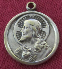 Antique Catholic Religious Medal - Sacred Heart of Jesus / Our Lady Mount Carmel