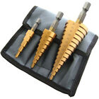3pc Large Cone High Speed Steel Step Hole Cutting Drill Bit Set Cutter - NEW
